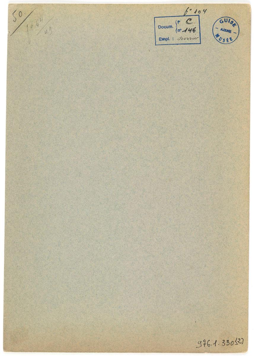 Verso du carton de montage de la photographie du mausolée de Godin.
