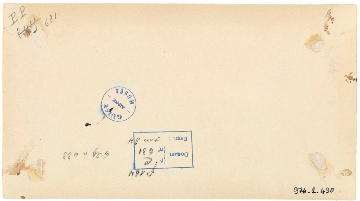 Verso de la photographie de l'atelier d'emballage de l'usine du Familistère