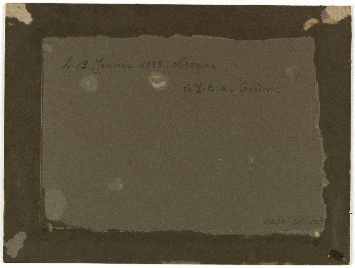 Verso de la photographie du convoi funèbred e Godin.