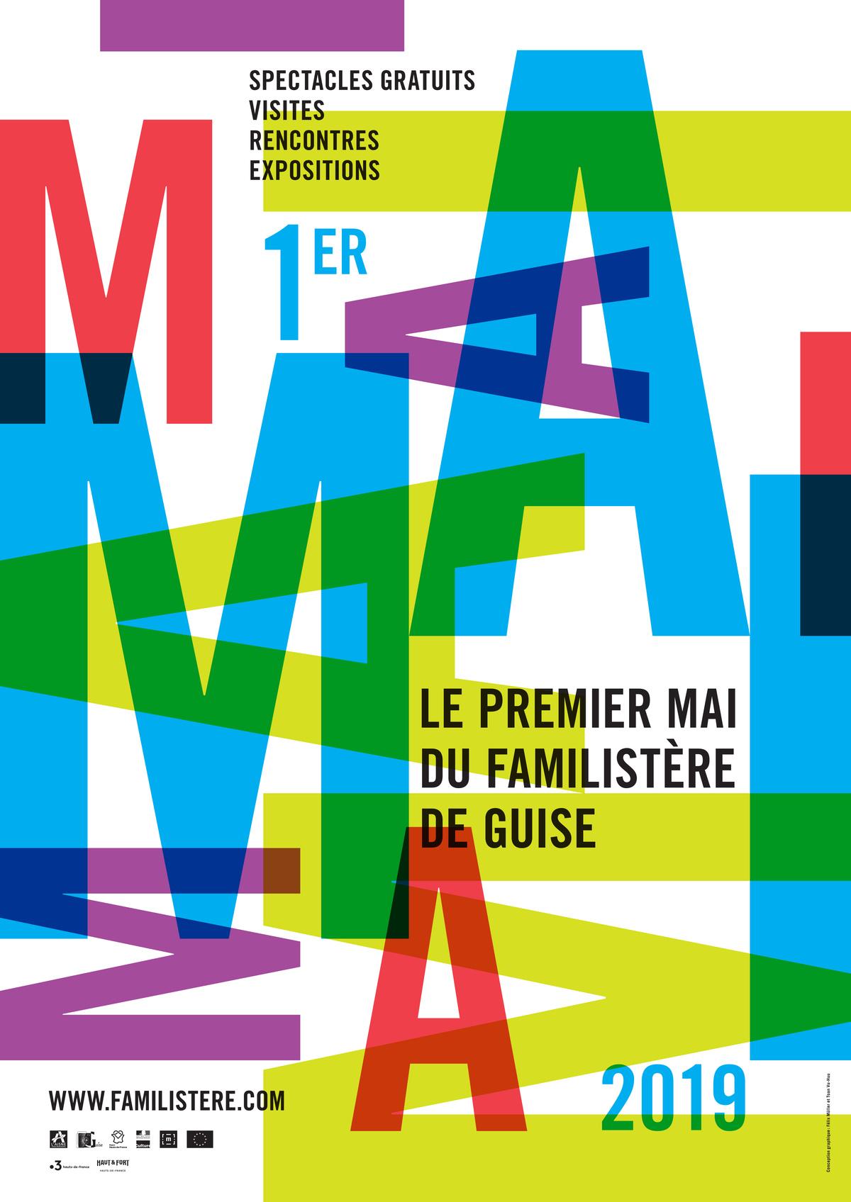 Affiche du Premier Mai 2019 Jeux typographyques aux couleurs vives