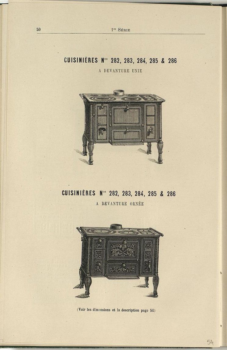 Vue d'une page de l'album de 1887 montrant les cuisinières n° 232 à 236.