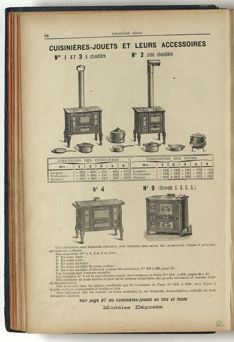 Vue d'une page de l'album de 1909 montrant les cuisinières jouets et leurs acces