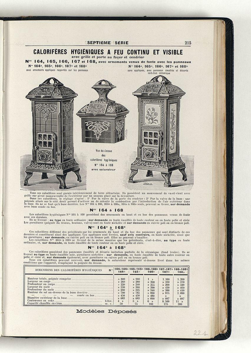 Vue d'une page de l'album de 1914 montrant la gravure du calorifère.