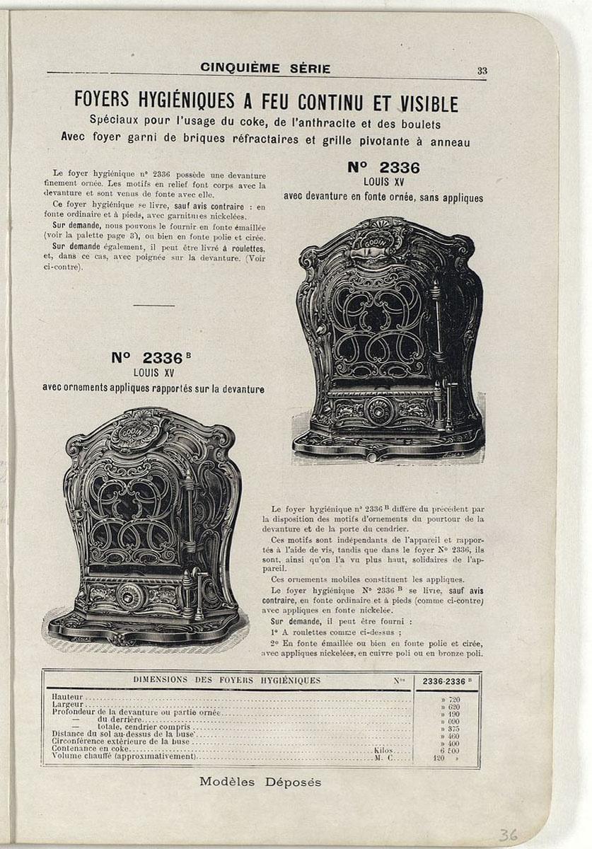 Vue d'une page du catalogue de 1921 montrant le foyer n° 2336.