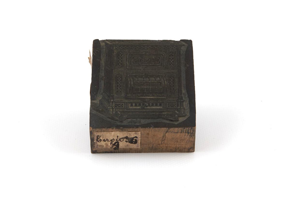 Vue de la matrice pour impression en bois gravé représentant le calorifère de sa