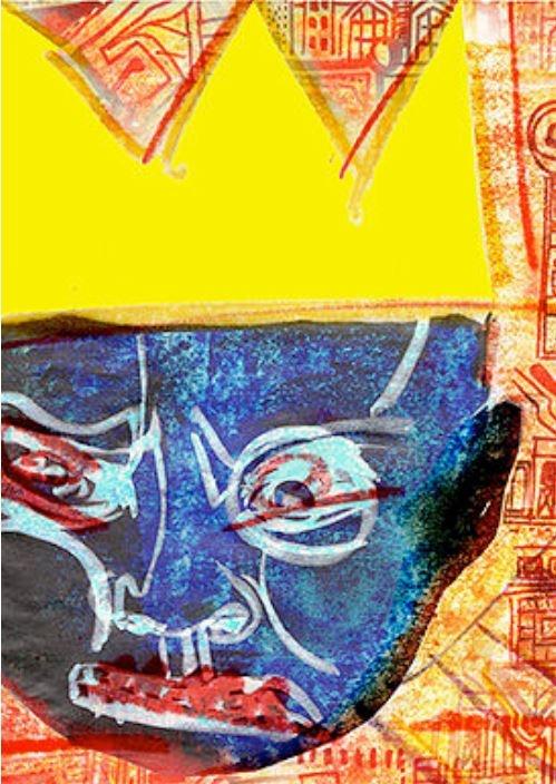 affiche du spectacle, tête couronnée stylisée