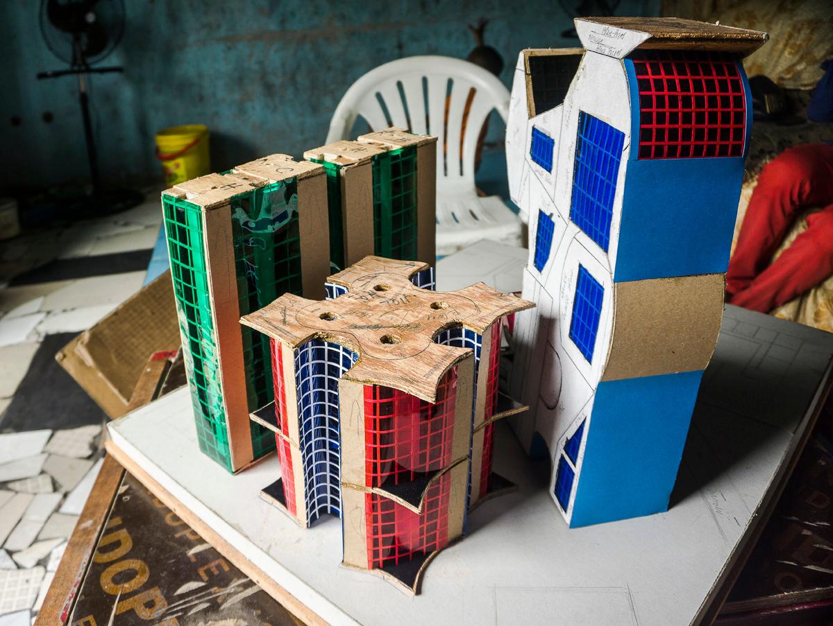 Vue d'une maquette en cours de fabrication