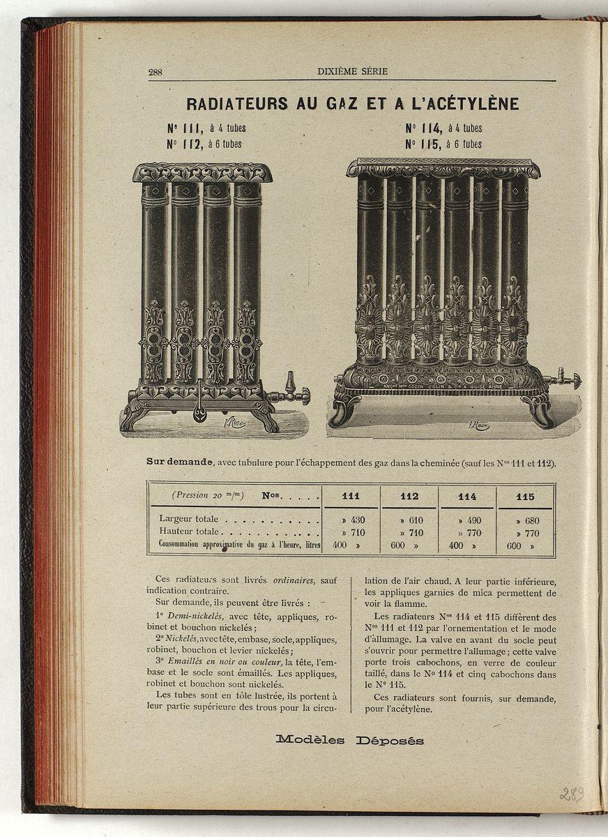 Vue de la page de l'album de 1903 montrant le radiateur au gaz n° 111