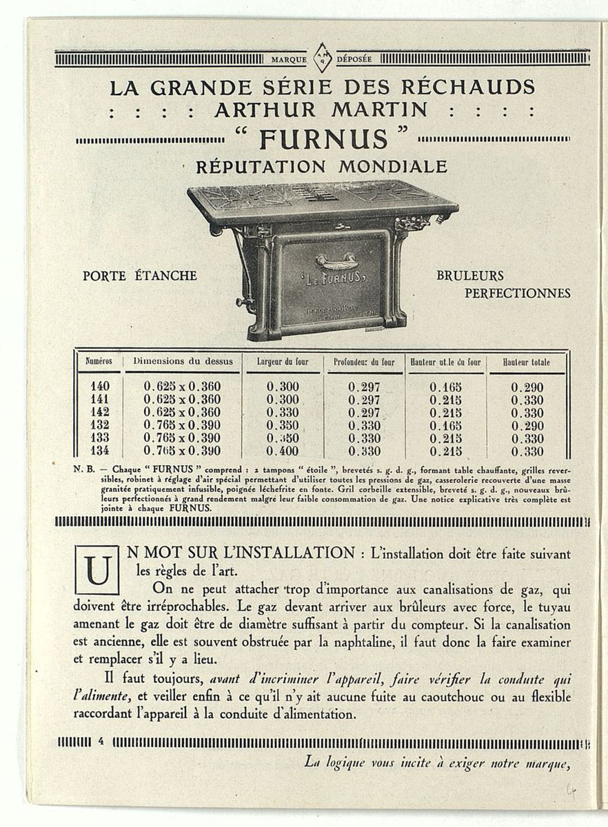 Vue de la page de l'album de 1928 montrant le réchaud « Le Furnus »