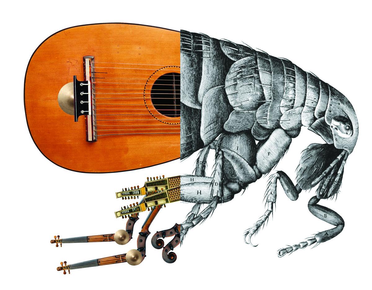 Composition graphique associant une puce et des instruments de musique