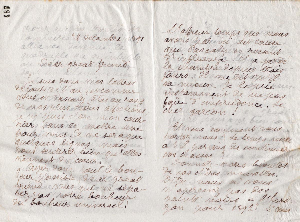 Vue d'une lettre manuscrite