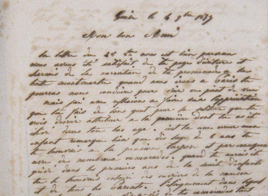 Vue d'une lettre manuscrite de Godin à son fils Émile.