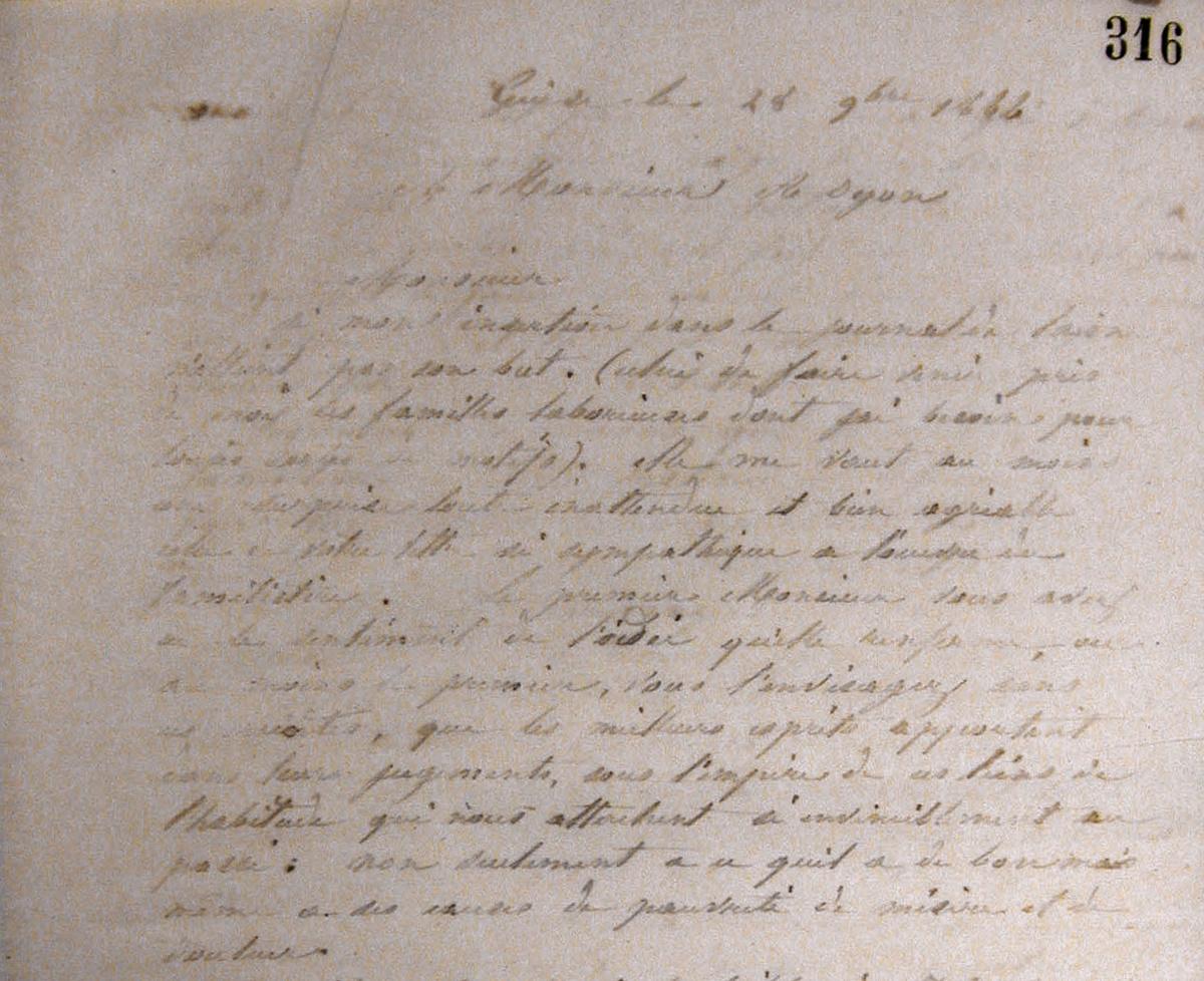 Vue d'une lettre manuscrite de Godin à Alexandre Oyon