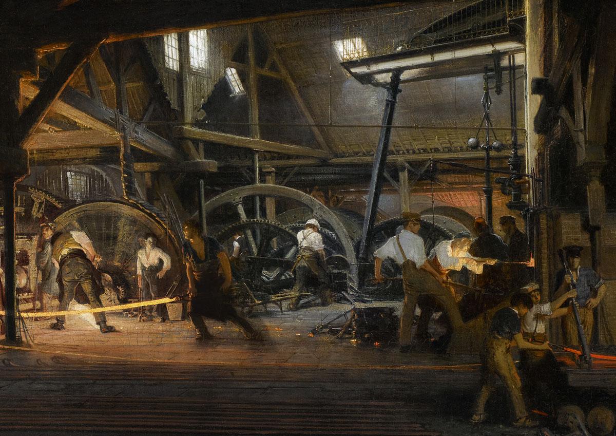 Vue intérieure des forges d'Abainville (Meuse) : train de laminoirs à rails et à
