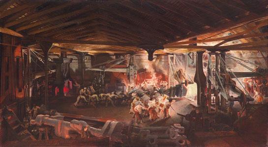 Forgeage au marteau-pilon dans les ateliers d'Indret  (image)