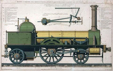 Dessin simplifié des machines locomotives à voyageurs du Chemin de fer du Nord (