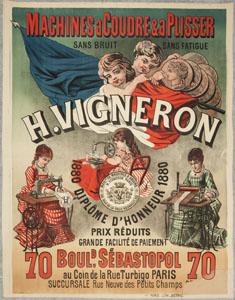 Affiche publicitaire «Machines à coudre et à plisser H. Vigneron» (image)