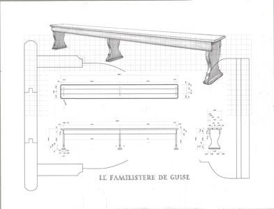 Dessin banc Le Familistère de Guise (France): théâtre