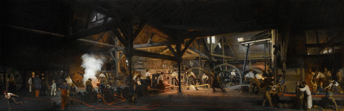 Vue intérieure des forges d'Abainville (Meuse): train de laminoirs à rails et à