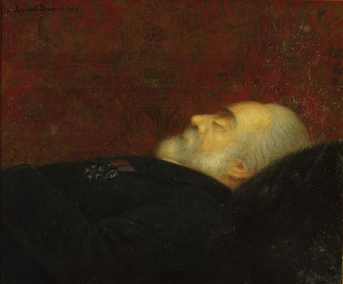 Le tableau représente la dépouille de Godin vue de profil.