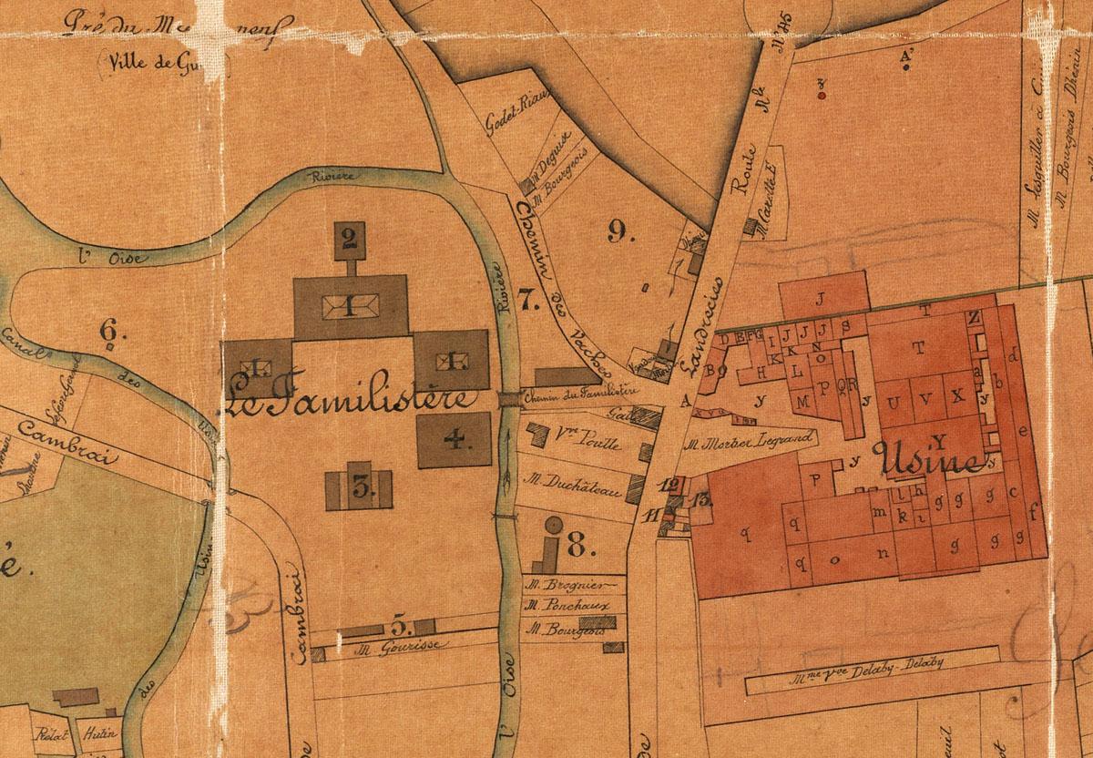 Le plan décrit l'état du Palais social et de l'usine du Familistère de Guise en