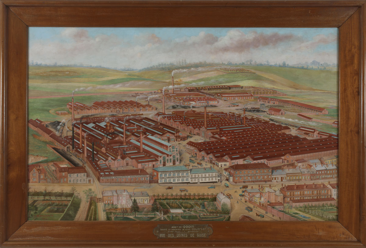La peinture représente l'usine du Familistère de Guise vue à vol d'oiseau.