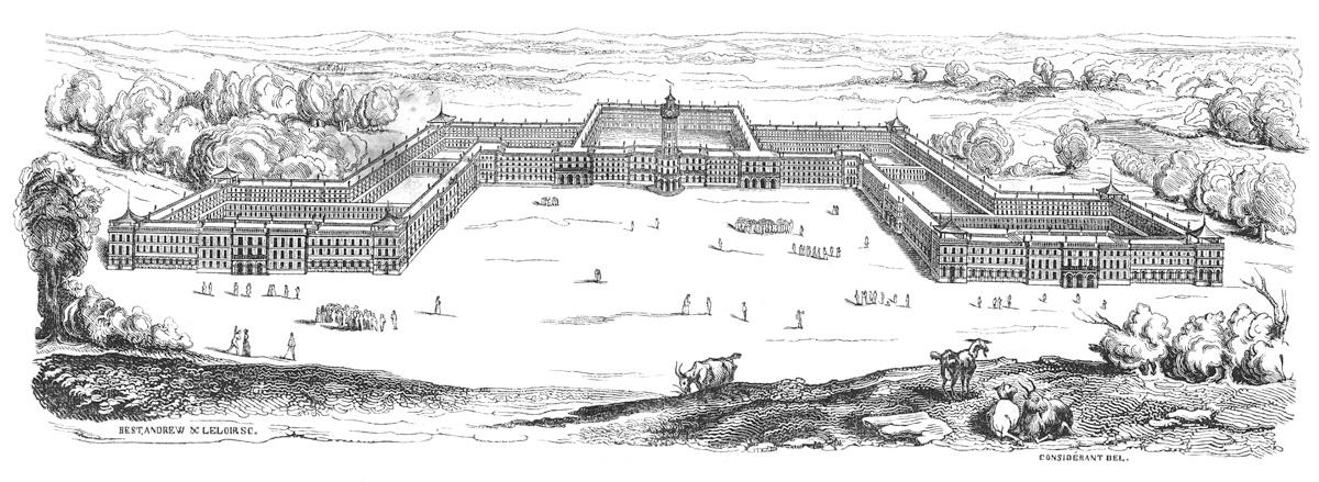 Sur la gravure, le phalanstère, immense palais évoquant Versailles, est représen