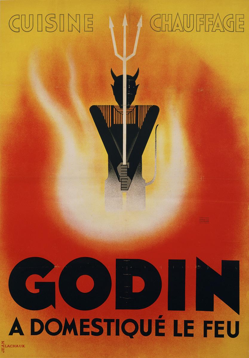 L'affiche représente un diable armé d'une fourche apparaissant dans des flammes.
