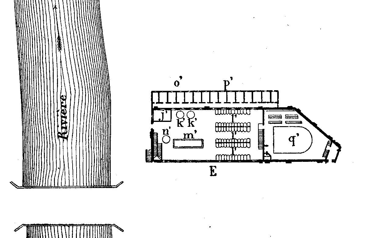 Un plan de la buanderie-piscine est publié par Godin en 1871.