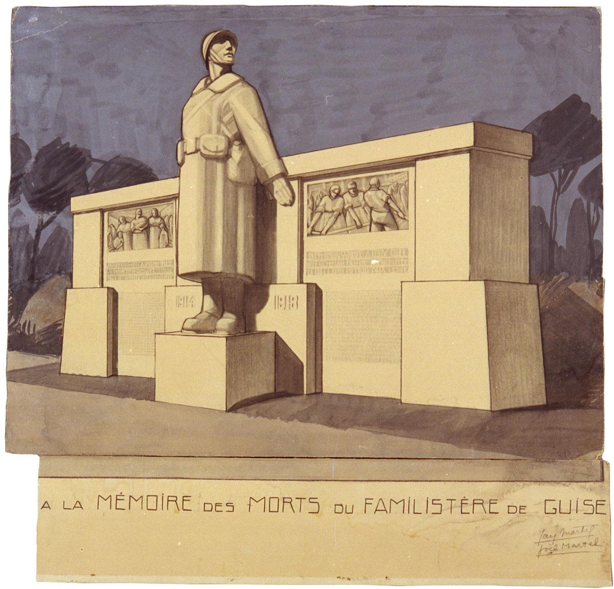 Le projet montre le monument de trois-quarts.