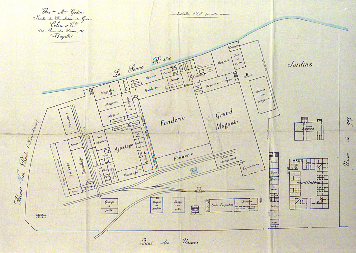 Le plan décrit le site du Familistère de Laeken.