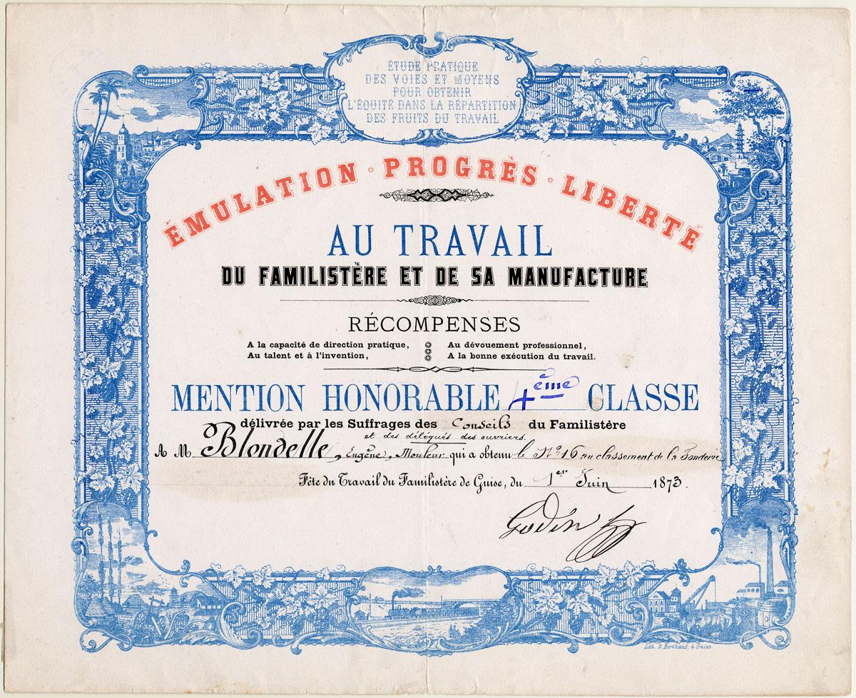 Ce diplôme a été décerné au mouleur Eugène Blondelle lors de la fête du Travail