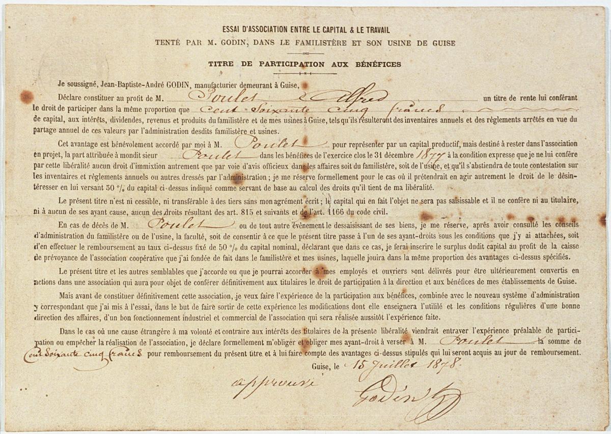 Ce titre de participation aux bénéfices a été délivré par Godin à Alfred Poulet.