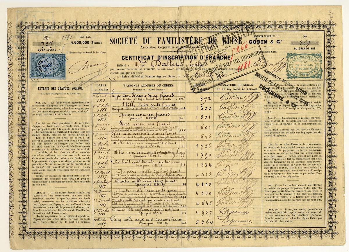 L'épargne d'Emilie Dallet est inscrite sur ce certificat de la société du Famili