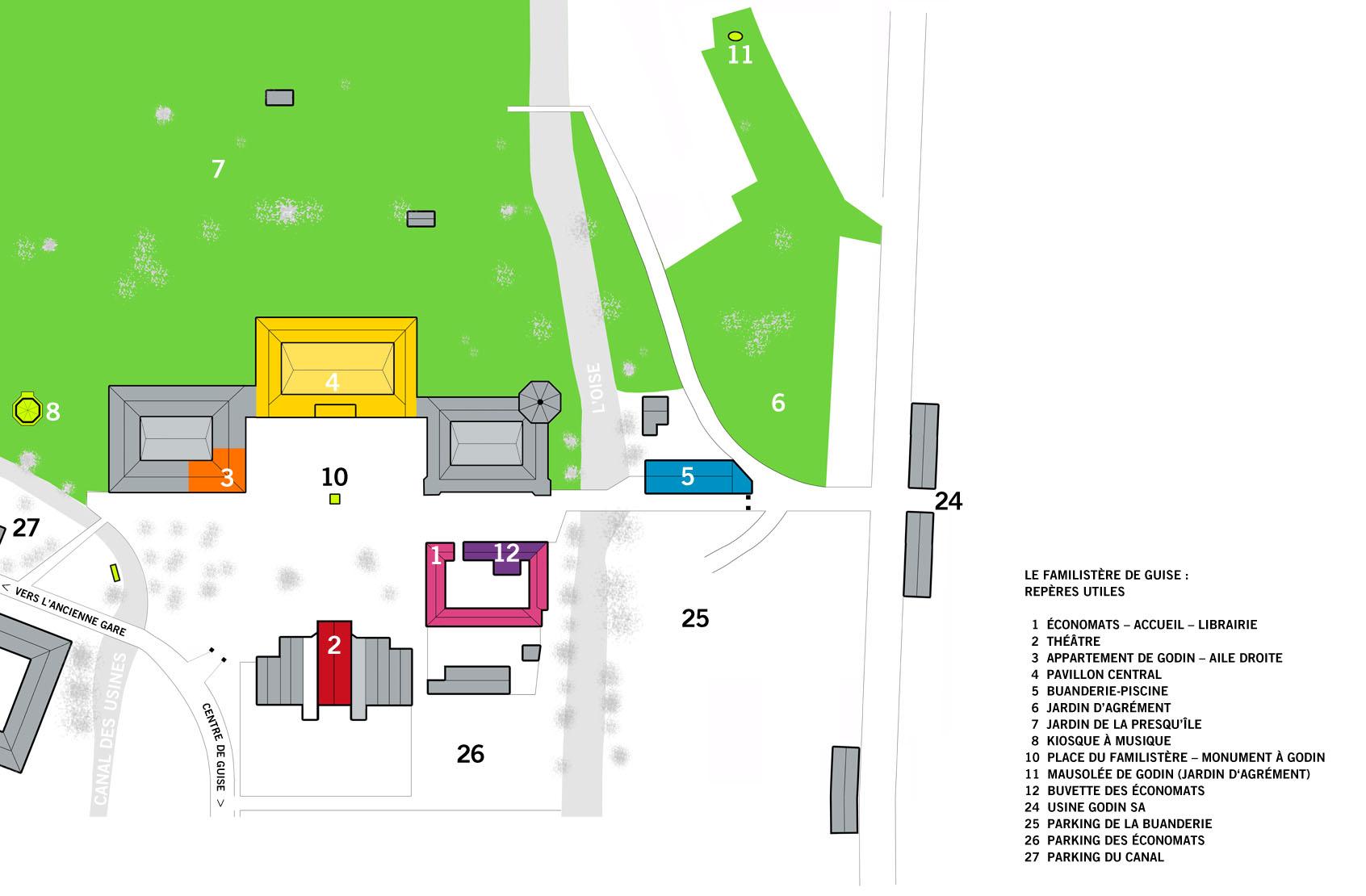 Plan des parkings du Familistère