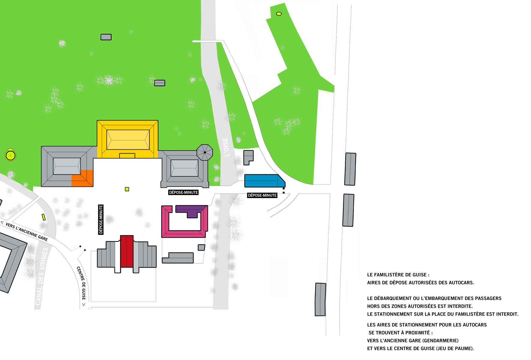 Plan des aires de dépose autorisées des autocars