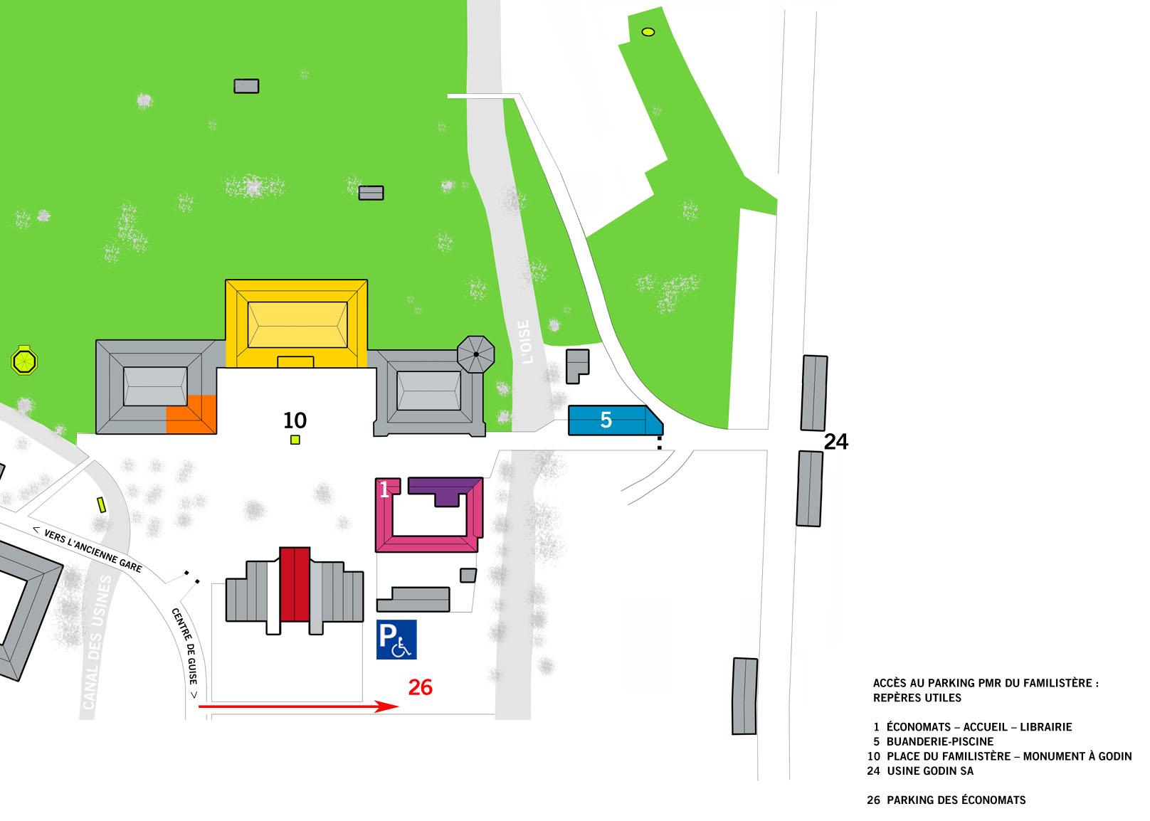 Le plan indique l'accès au parking PMR du Familistère.
