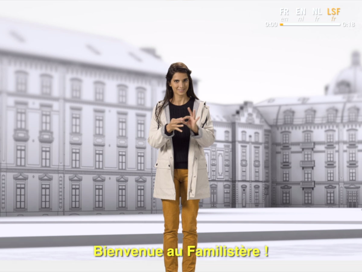 Une image extraite du film d'accueil des visiteurs dans sa version en langage de