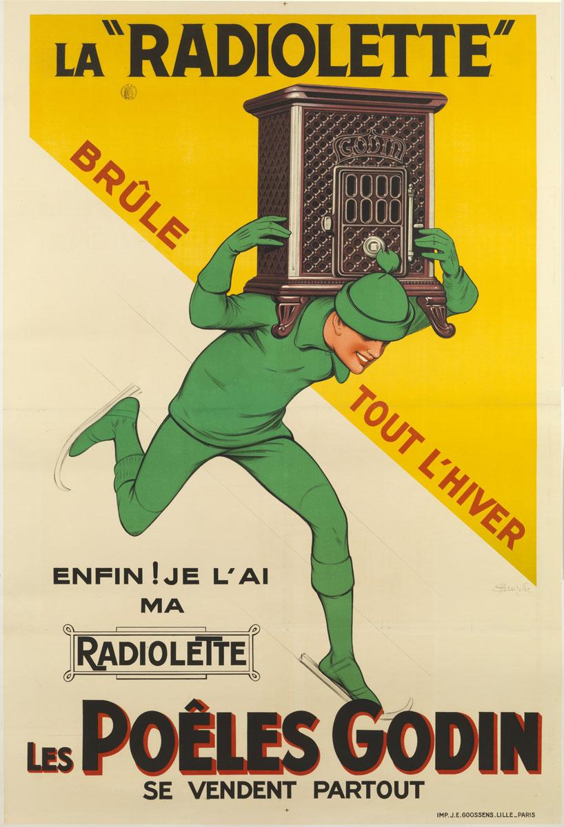 L'affiche montre un patineur portant un poêle sur ses épaules.