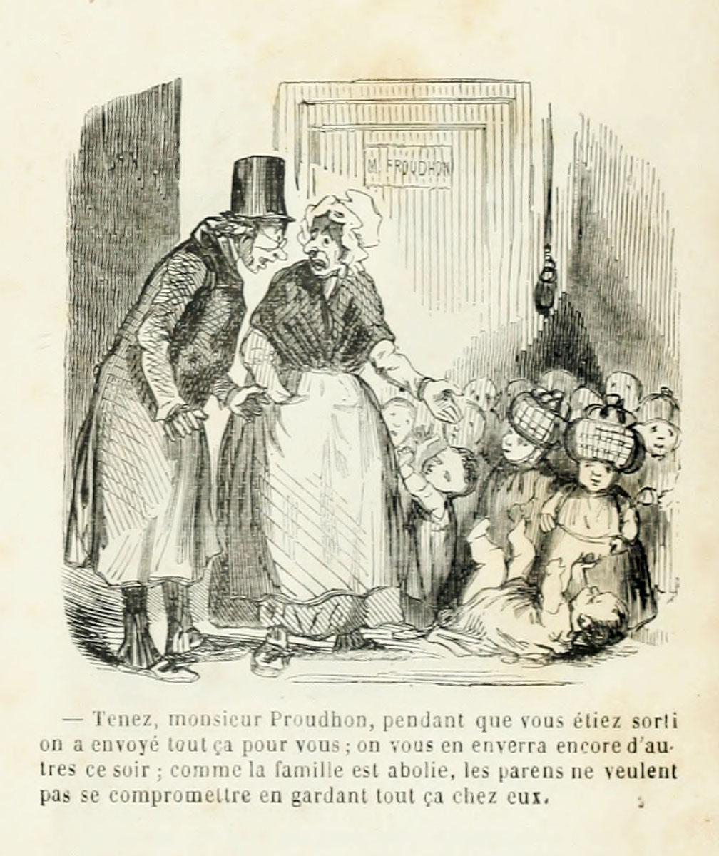 La caricature montre Proudhon trouvant devant sa porte des enfants abandonnés pa