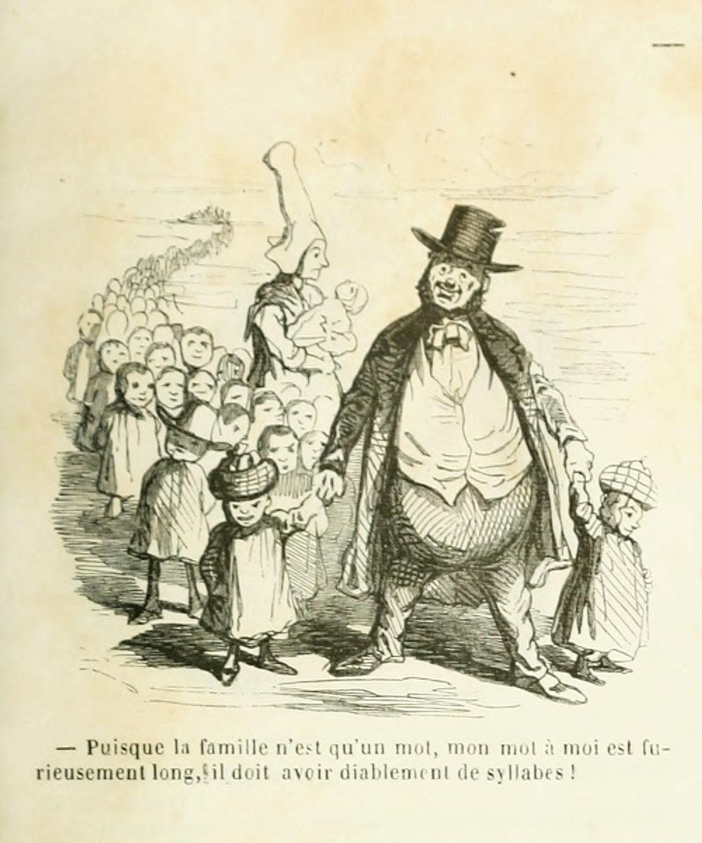 Un bourgeois marche en tête d'une cohorte d'enfants qui composent sa famille.