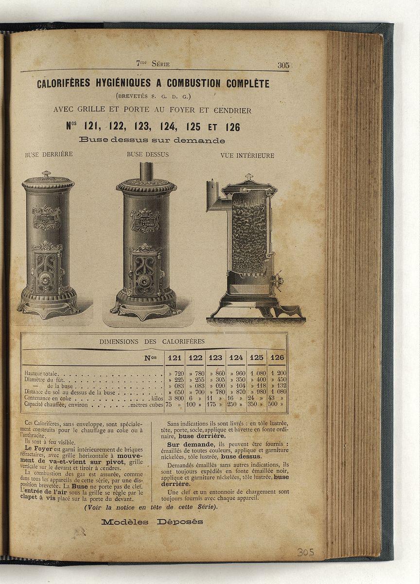 La page du catalogue présente la série des calorifère hygiénique à combustion co