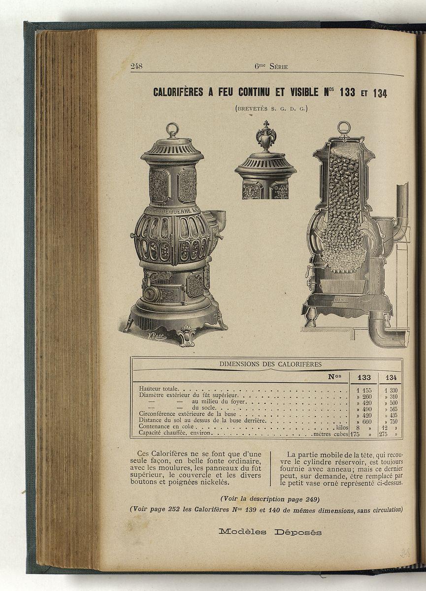 La page du catalogue montre le poêle phare en élévation et en coupe.