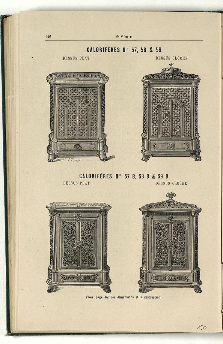 La page du catalogue de 1887 présente les modèles de calorifère n°57 à 59.