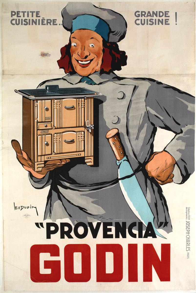 L'affiche montre un cuisinier tenant à la main une cuisinière.