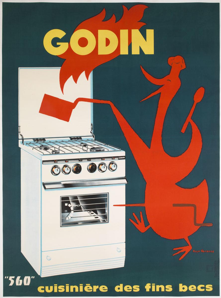 """L'affiche montre une oie embrochée préparant un repas sur une cuisinière """"Godin"""""""