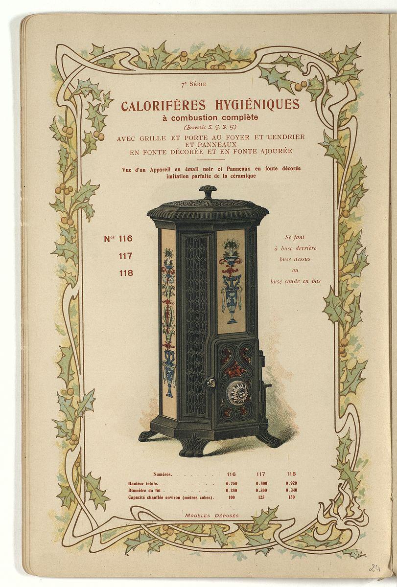 La gravure en couleurs montre un calorifère hygiénique n° 116 à 118.