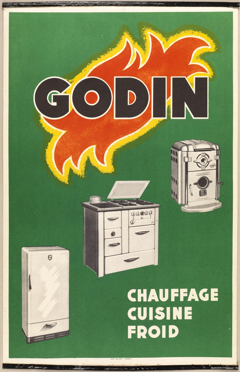 """L'affichette montre, sur un fond verte, le logotype """"Godin"""" à la flamme et trois"""