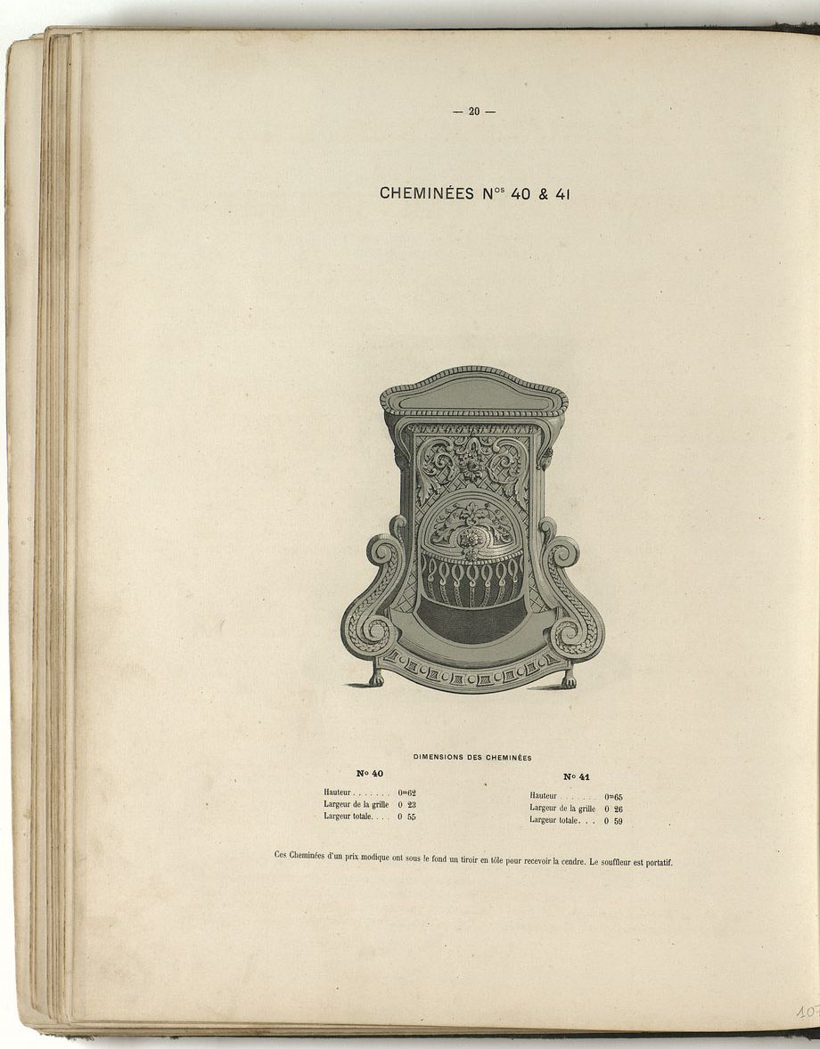 La lithographie montre le modèle des cheminées n° 40 et n° 41, vu de face.