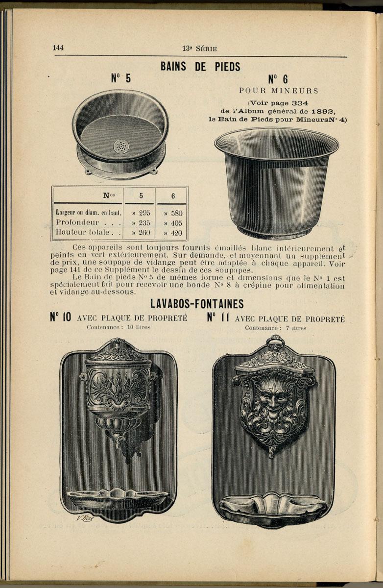 la page du catalogue présente des gravures représentant divers articles.